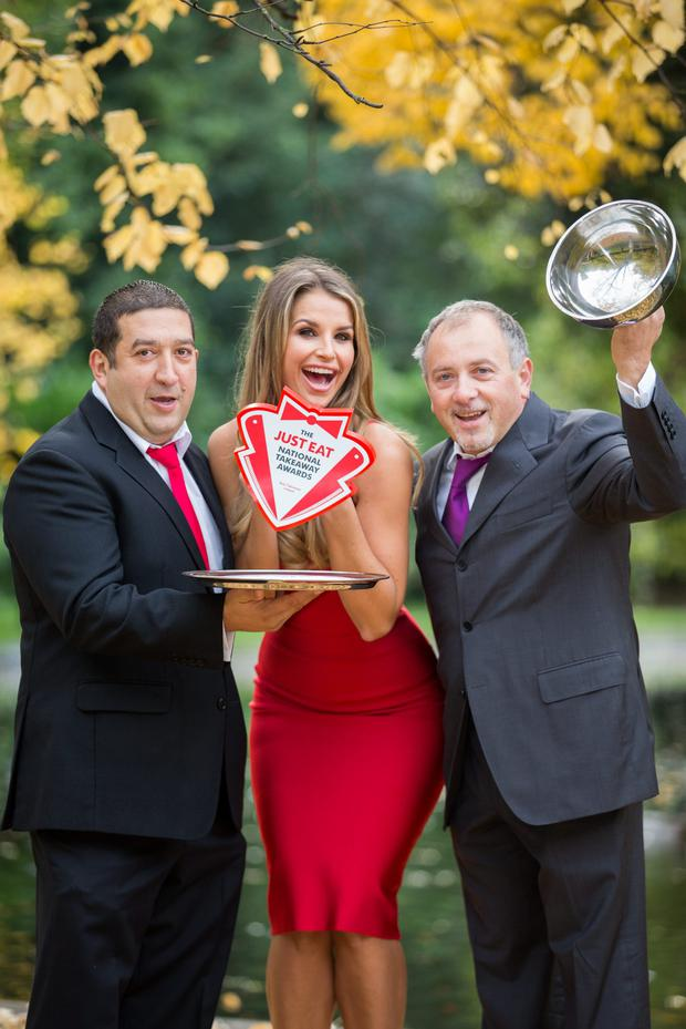 Vogue Williams, Francesco Macari (left) and Antonio Macari celebrate the Just Eat National Takeaway Awards