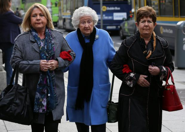 Anne Rudd at court with her daughters, Terry Davey (left) and Anne Claxton (right)