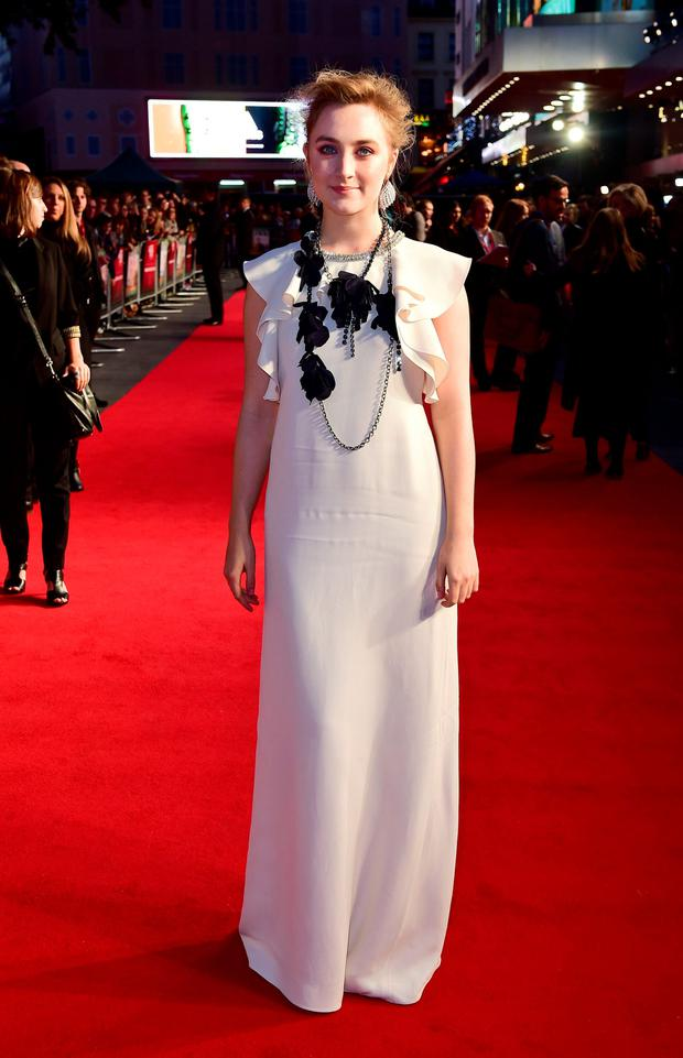 Saoirse Ronan attending the official screening of Brooklyn during the 59th BFI London Film Festival at the Odeon Leicester Square, London. PRESS ASSOCIATION Photo. See PA story SHOWBIZ Brooklyn. Picture date: Monday October 12th, 2015. Photo credit should read: Ian West/PA Wire