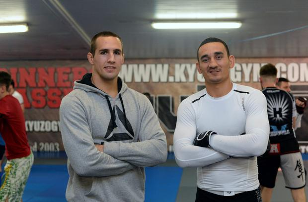 22 Oct 2015; UFC fighters Rory McDonald, left, and Max Holloway. Kyuzo Gym UFC Community Seminar. Kyuzo Gym, Ballyboggan Business Centre, Ballyboggan Road, Glasnevin, Dublin. Picture: Caroline Quinn