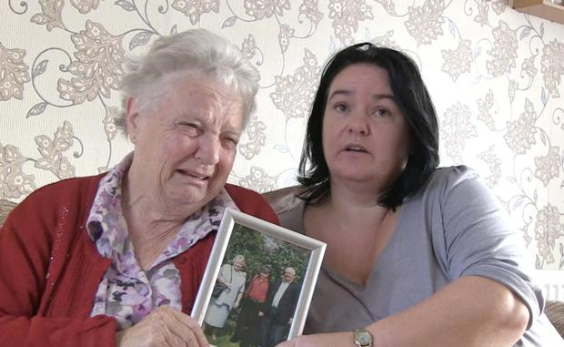 Geraldine Olliffe (Auntie) and Lena Clarke (Nanny who brought up Elizabeth) with a missing persons leaflet and Picture of Elizabeth Clarke