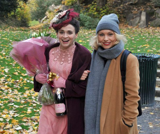 Charlene McKenna and Killian Scott filming scenes in the Iveagh Gardens for Victorian crime drama Ripper Street.It was Charlene's last day of filming in the current series.