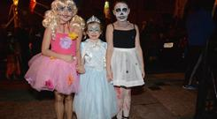 Livvy Hayden (10), Miley Hayden (5) and Abbie Jackson (10) during the East Wall Halloween Festival and Parade.