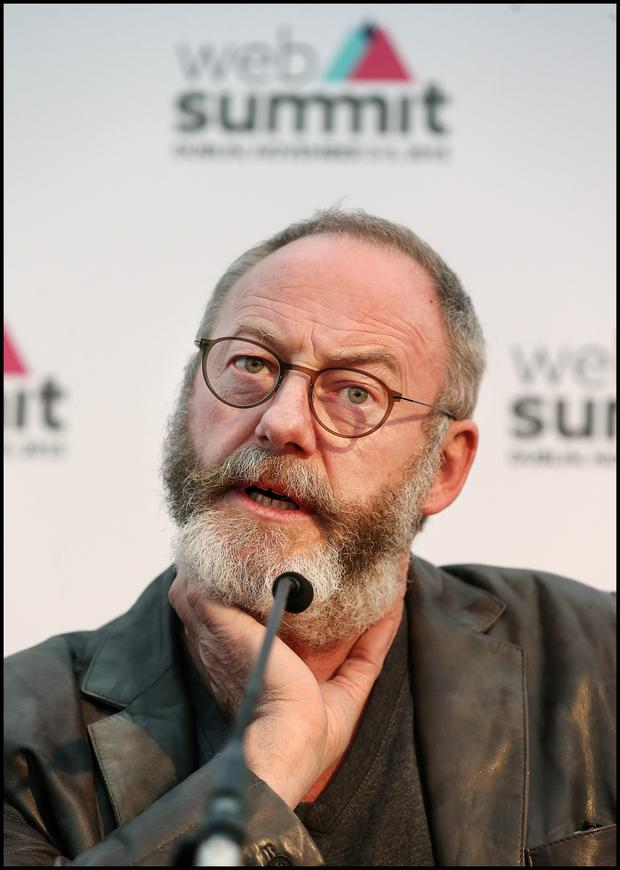 Irish actor Liam Cunningham speaking to media at the Web Summit at the RDS.