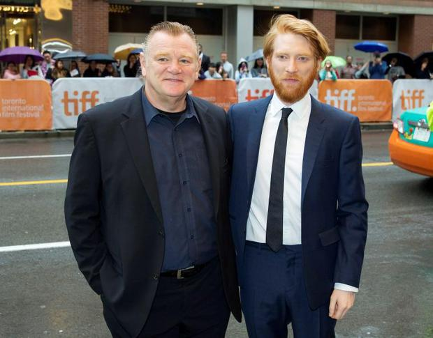 Actor Domhnall Gleeson and his father actor Brendan Gleeson arrive for the premiere of