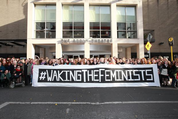 Waking the Feminists event outside The Abbey Theatre