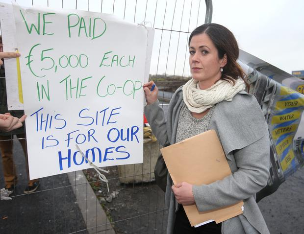Deirdre Taylor protesting at the site in Balbutcher Lane in Ballymun
