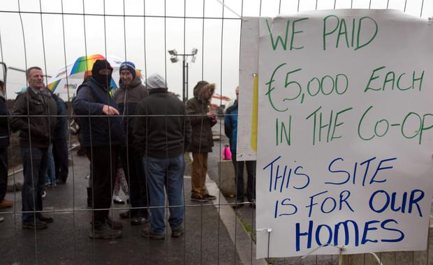 Protesters at the modular homes site in Ballymun
