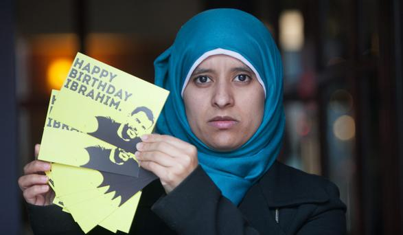 Somaia Halawa, sister of Ibrahim Halawa, at the announcement of a postcard campaign for Ibrahim. Photo: Gareth Chaney Collins