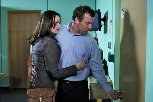 A scene from Fair City featuring Heather (Una Kavanagh) and Max (Rory Nolan)