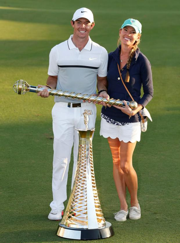Rory with fiancee Erica Stoll after winning The Race to Dubai and DP World Tour Championship