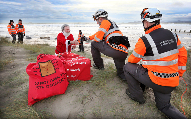 The Coast Guard rescues Santa after he fell out of his sleigh at Dollymount strand