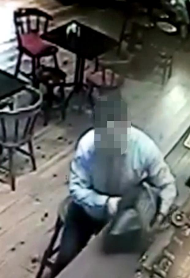 CCTV stills show the alleged theft of a Meals on Wheels charity box at the Holy Cross Bar outside Waterford city
