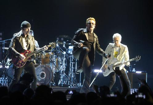 The Edge, Bono and Adam Clayton of U2 perform at The see Arena in Belfast. Picture credit; Damien Eagers 18/11/2015