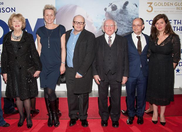 Sabina Higgins, Monika Abrahamson, award winning Director Lenny Abrahamson, President Michael D. Higgins, Ed Guiney and Aoife O'Riordan pictured at the irish premier of ROOM at Light House Cinema, Smithfield