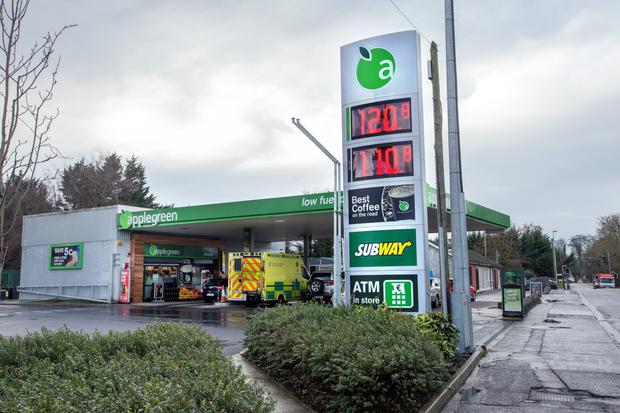 Prices displayed at the Applegreen station, Clonsilla. Photo: INM