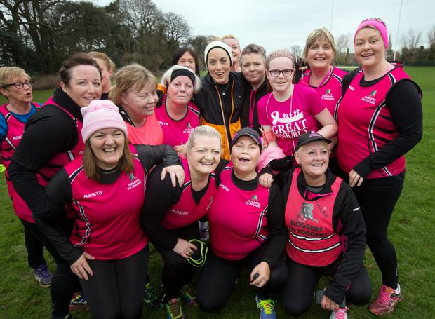 Kathryn Thomas with members of Sloggers to Joggers club from Swords. Photo: INM