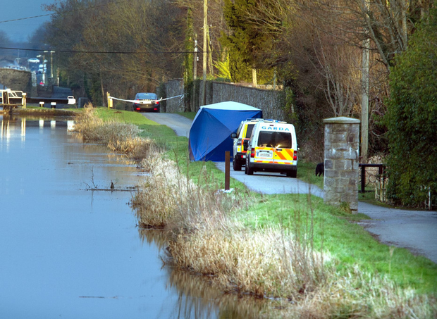 Garda at the scene in Ardclough where human remains were found in the Grand Canal last Saturday.
