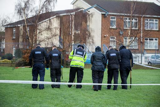 Gardai carry out a search of the scene in Tallaght
