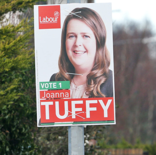 Election posters for Labour's Joanna Tuffy pictured erected on the Willsbrook Road, Lucan this morning. The posters have been erected at least a day earlier than permitted