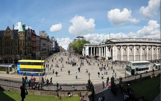 How the plaza would look when it's eventually pedestrianised