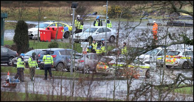 Gardai at the scene as the search begins for the body parts of Kenneth O'Brien