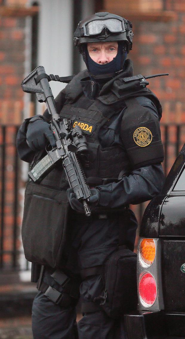 Armed Gardai from the forces Emergency Response Unit on patrol in North Inner City Dublin