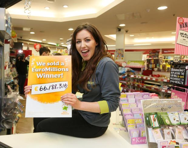 Store assistant Sonya Cullen at the Eason store in Carlow, which sold the winning ticket