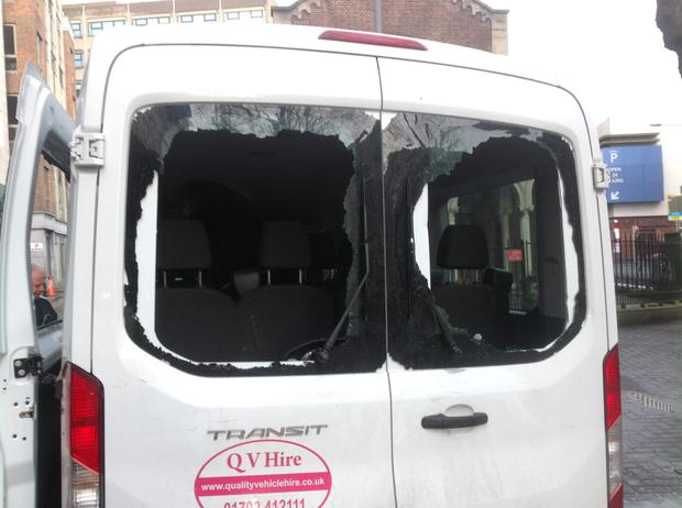 The van's windows were smashed in with a traffic cone