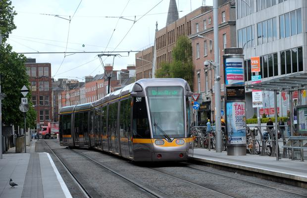 A Luas departing St Stephen's Green in Dublin city