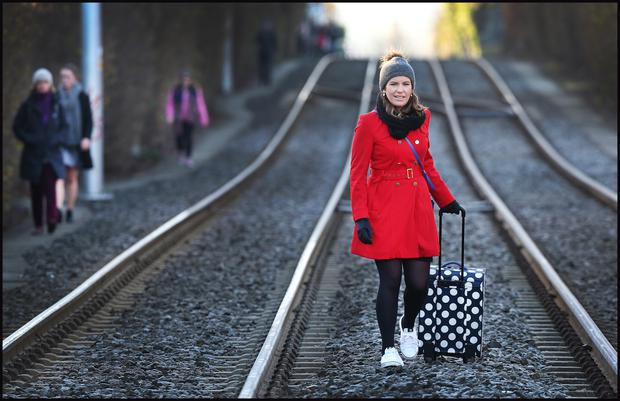 Alana Butler was just one commuter walking to town along the Luas tracks at Ranelagh following the strike (INM)