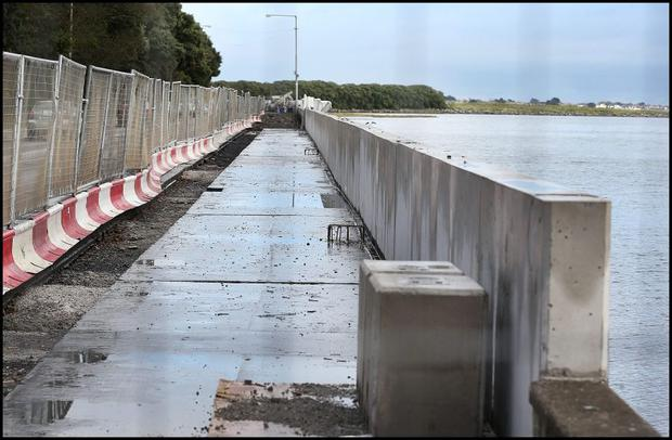 The flood protection wall being constructed along the Clontarf Road at St. Annes Park.