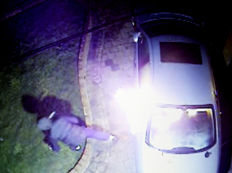 CCTV showing the arson attack on the taxi outside the home of Declan Walsh