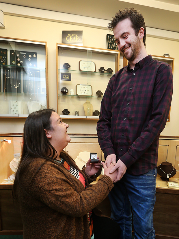 Ciara Grehan gets down on bended knee to propose to long-term partner James Lyons Photo: Steve Humphreys