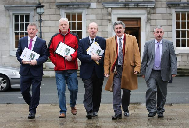 Independent TDs Sean Canney, Finian McGrath, Shane Ross, John Halligan and Kevin 'Boxer' Moran at Leinster House. Photo: Gareth Chaney/Collins