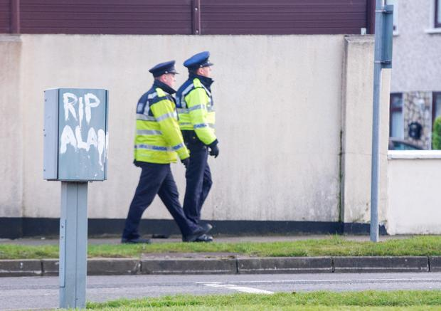 Gardai on patrol outside the Ryan family home in Donaghmede yesterday