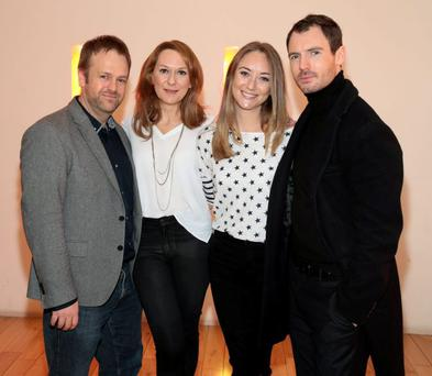 Gareth Philips, Executive Producer of Red Rock with Actors Cathy Belton ,Pandora McCormick and Richard Flood at the Light House cinema for the screening of Red Rock's highly anticipated Christmas episodes, where one of the main characters will be killed off in an explosive cliff-hanger.