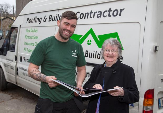 Roofer James Ormond and delighted grandmother May King (Colin O'Riordan)