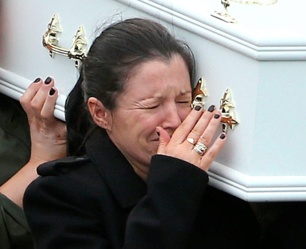 Louise James at the funeral (PA)