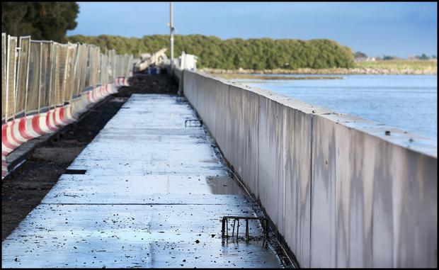 A section of the flood protection wall on the Clontarf Road (INM)
