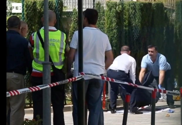 The scene after Gary Hutch was brutally shot at the Angel de Miraflores complex near Marbella