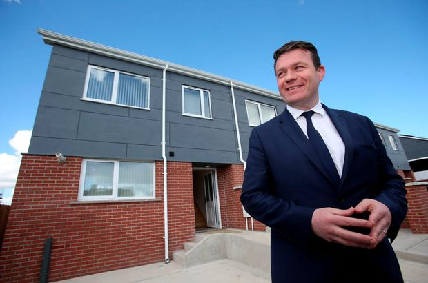 Acting minister Alan Kelly at the modular homes (Brian Lawless/PA Wire)