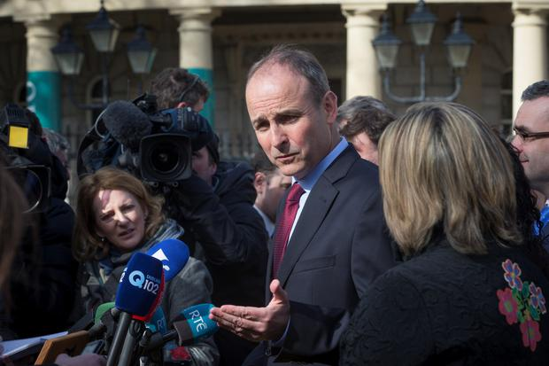 Fianna Fail's Micheal Martin speaks to the media after the talks (Arthur Carron)
