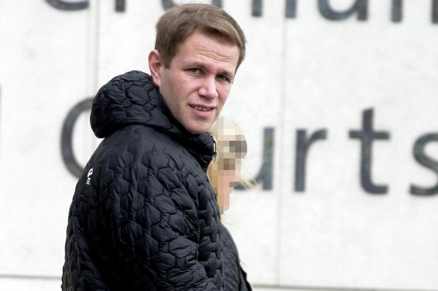 Ciaran Lane arrives at the court before he was sentenced to five years in prison