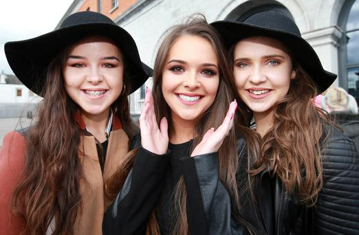 Sharon Mc Cluskey [22] from Drumconrath Co Meath pictured with her sisters Kelly[16] and Tracey [18] before taking part in the X Factor 2016 auditions in Dublin's 3 Arena. Picture Credit:Frank Mc Grath