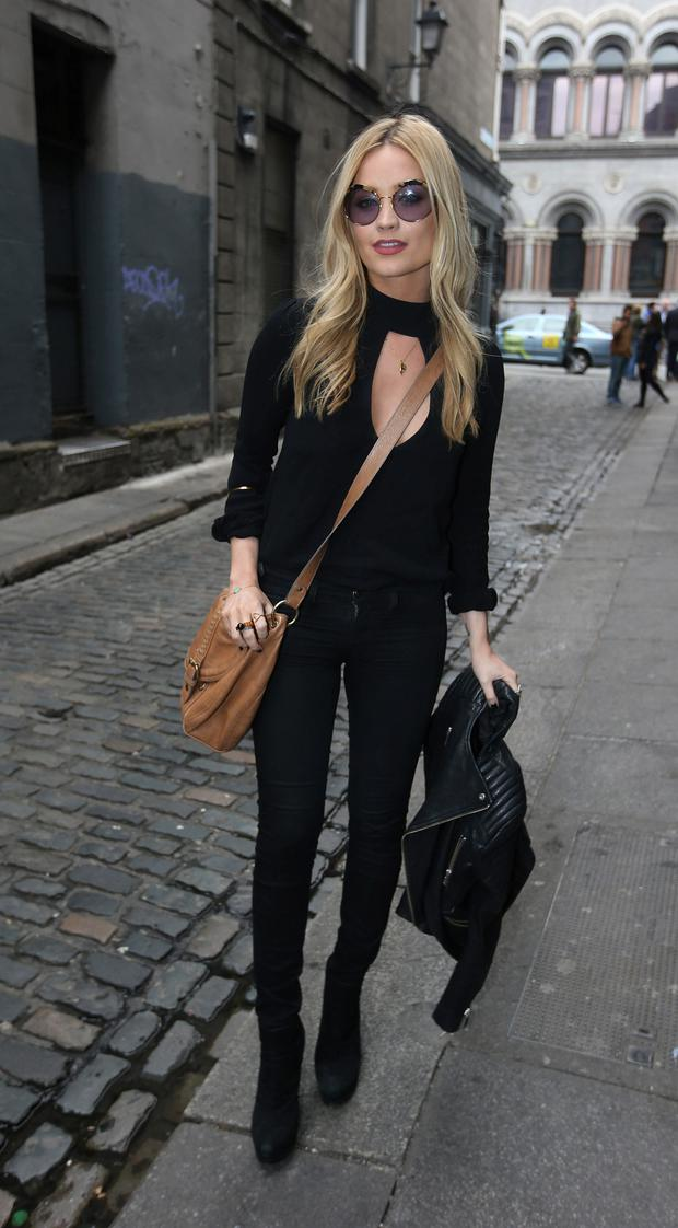Laura Whitmore arrives for the Rock against Homeless concert at the Olympia Theatre. Photo Damien Eagers