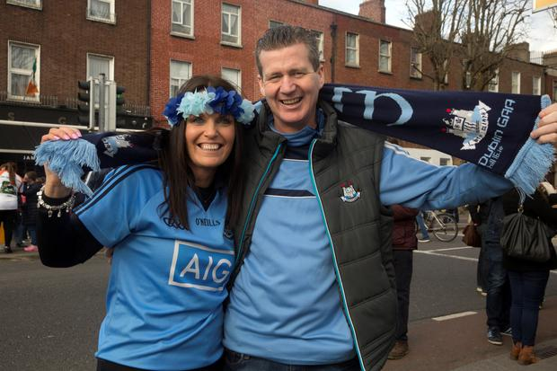 Karen and Paul Buckley, Kill, at the Dublin V Kerry match at Croke Park in Dublin. Pictures: Arthur Carron