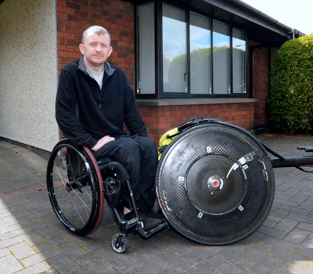 Paralympian John McCarthy outside his home in Lucan