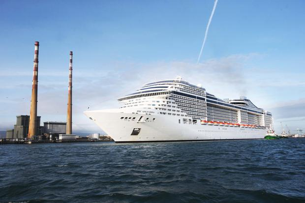 The 333m MSC Splendida, the longest ship ever to visit Dublin Port