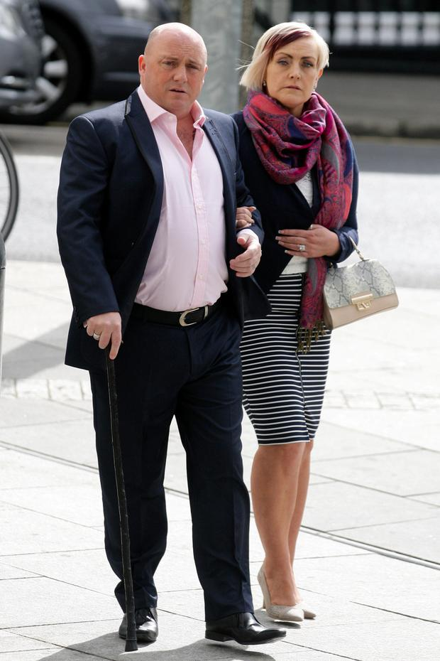David Mahon arrives at court with his wife Audrey (Courtpix)